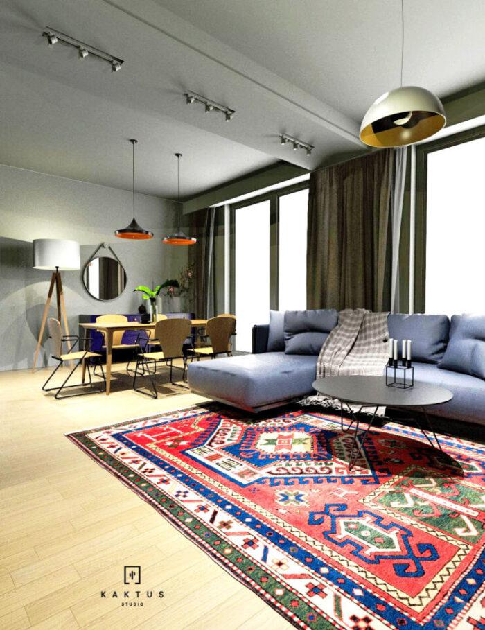Aranżacja salonu - mieszkanie II 1
