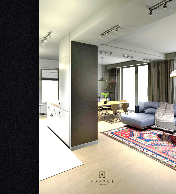 Aranżacja salonu - mieszkanie II 2